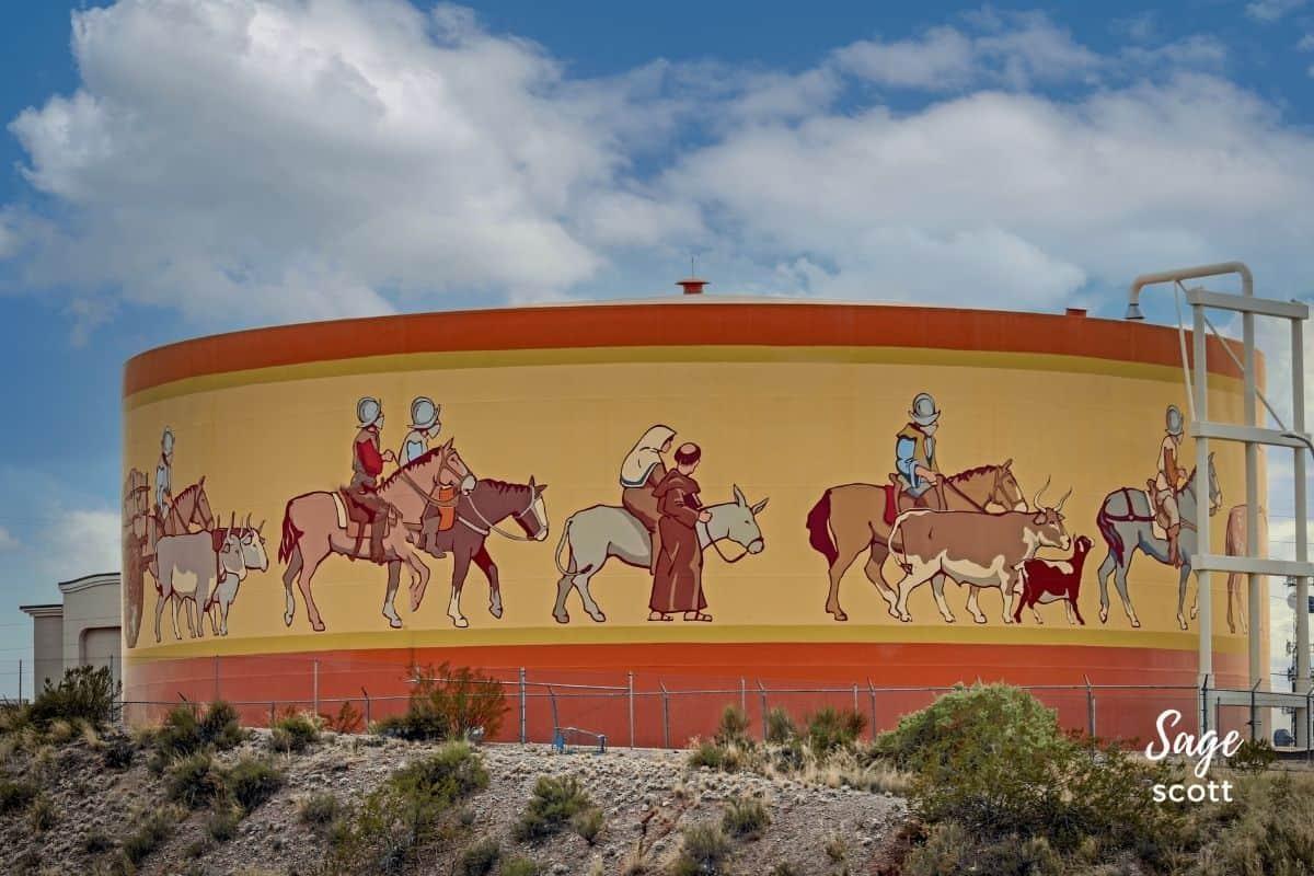 A water tank featuring Jornada del Muerto