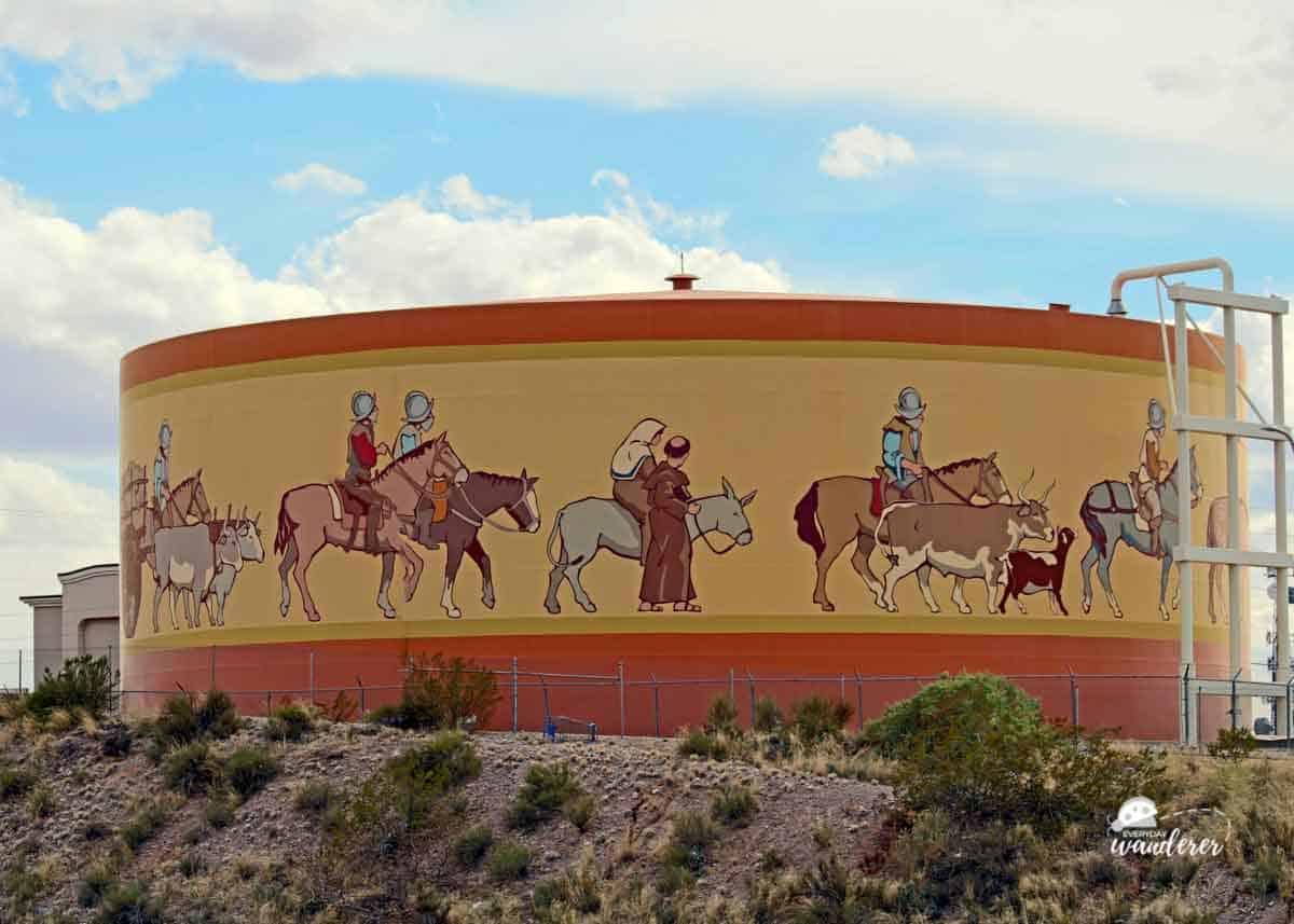 The La Entrada Water Tank Mural in Las Cruces NM