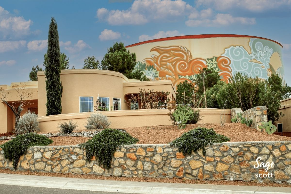 This Las Cruces water tank mural is tucked into a neighborhood