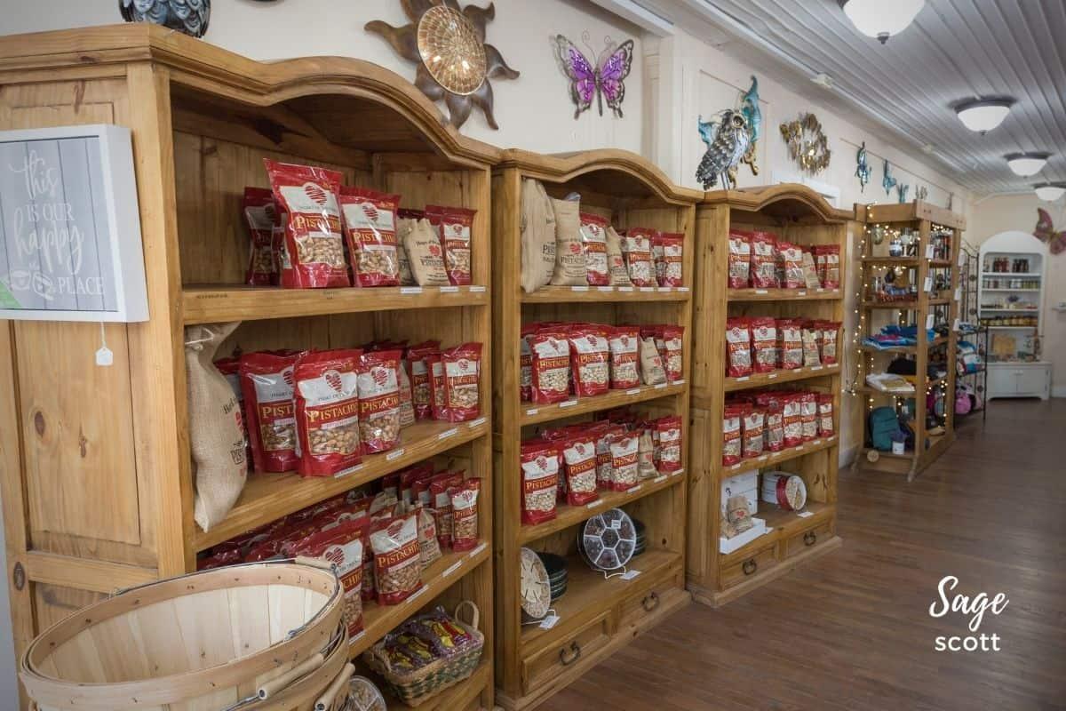Shelves of pistachios at Heart of the Desert