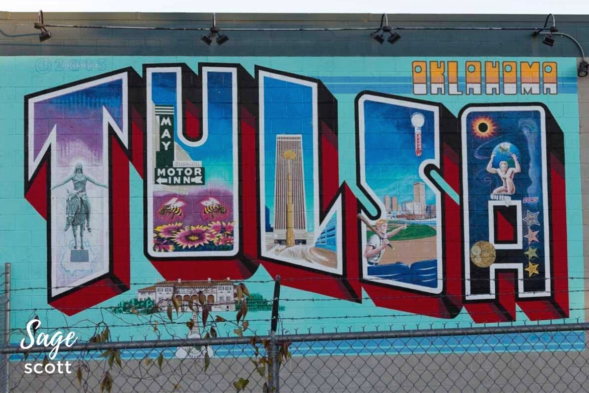 Tulsa postcard mural with landmarks incorporated into the letters of the city