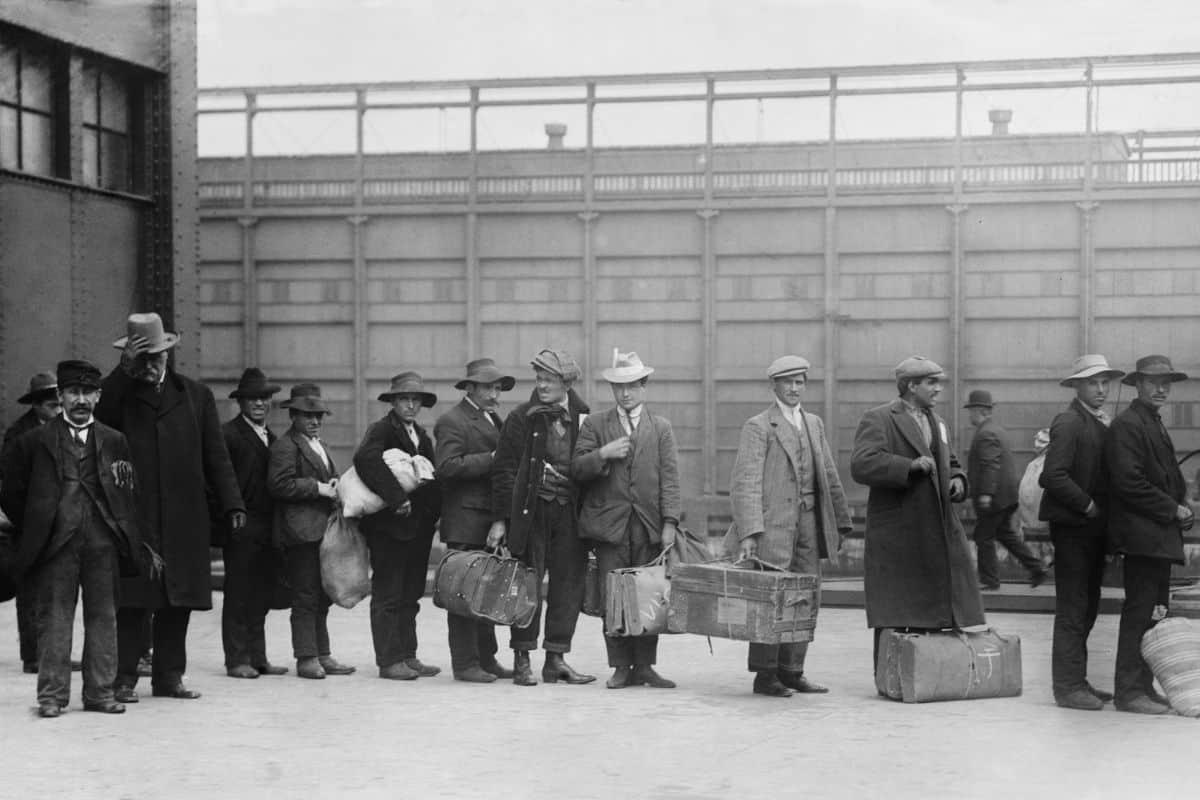 A line of Italian Immigrants
