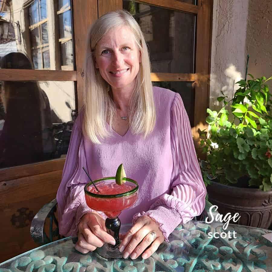 Enjoying a Chile 'Rita on the patio at La Posta