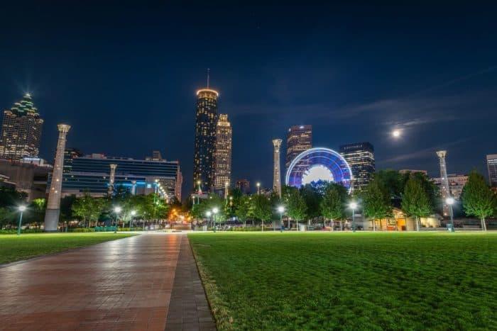 View of Atlanta from Olympic Park at Night