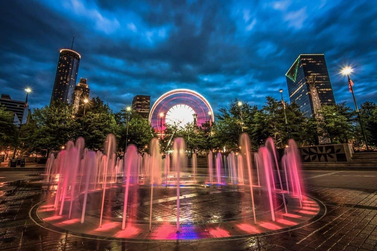 Fountain of Rings in Atlanta's Olympic Park at night