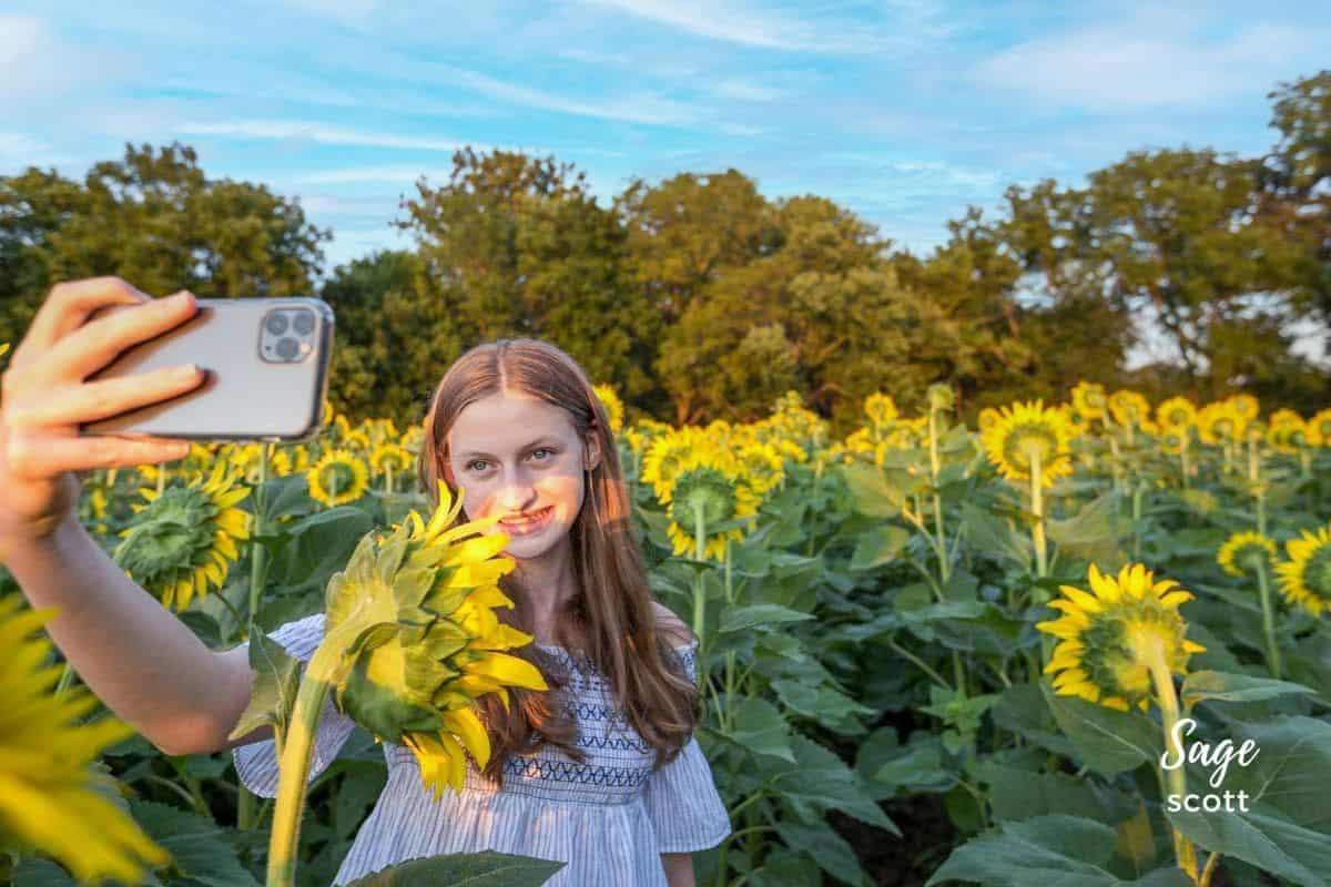 Girl taking selfie in sunflower field