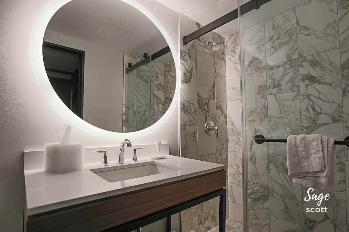 The bathroom in my guest room at Le Meridien St. Louis Clayton