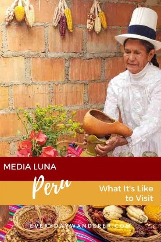 What it's like to visit Media Luna during Peru travel. Media Luna Peru is in the Andes Mountains. Meet Peruvian animals like peru alpacas. Experience Peru art like Peru weaving textiles. #medialuna #peru #southamerica #travel